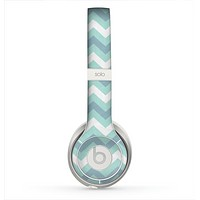 The LightTeal-Colored Chevron Pattern Skin for the Beats by Dre Solo 2 Headphones