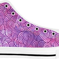 Neon pink and purple swirls doodles White High Tops