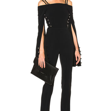 David Koma Oversized Loops & Metal Balls Cropped Jumpsuit in Black | FWRD