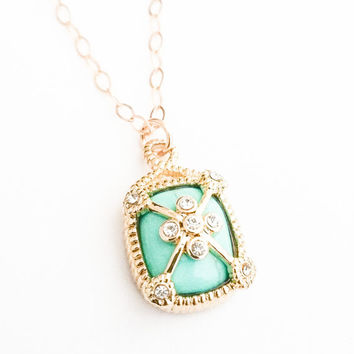 Gold Turquoise CZ Pendant Necklace, Turquoise CZ Necklace, Turquoise Necklace, CZ Necklace, Turquoise Pendant, Gold Turquoise Necklace