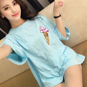 Sequins Ice Cream Print Loose T-Shirt