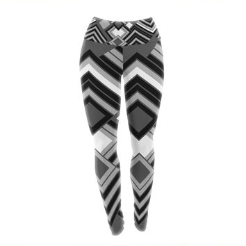 "Jacqueline Milton ""Luca - Monochrome"" Black White Yoga Leggings"