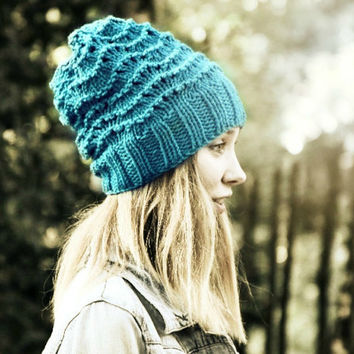 Slouchy Beanie Hat - Blue - Hand Knitted Vegan Hat - Woman's Hat - Teen Girl Hat