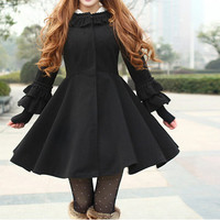 Black cape wool dress lovely wool coat autumn coat winter outerwear cape coat with cute bowknot BJ11,s,m,l,xl,xxl