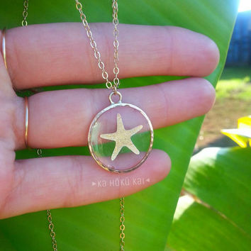 See Through Starfish Circle Necklace, 14K Gold filled, resin necklace, resin jewelry, gold metallic starfish, flash tattoo