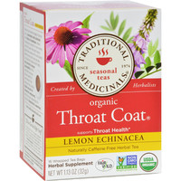 Traditional Medicinals Organic Throat Coat Lemon Echinacea Herbal Tea - Caffeine Free - 16 Bags