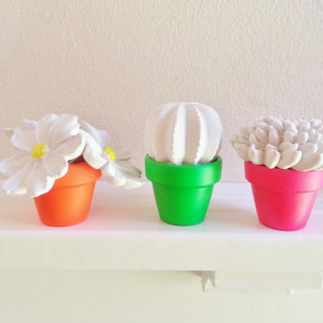 unique mothers day flowers,Mini Flower Sculpture Arrangement in Neon pots, Modern indoor garden, Wedding favors, Tabletop centerpiece