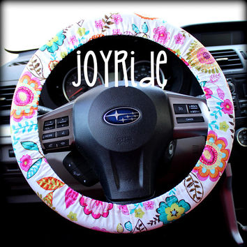 Steering Wheel Cover Wildflowers Mountainside boho Fabric with Matching Keychain Option Car Accessories