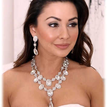 Wedding jewelry set, Bridal necklace, vintage inspired rhinestone bridal statement, Swarovski jewelry