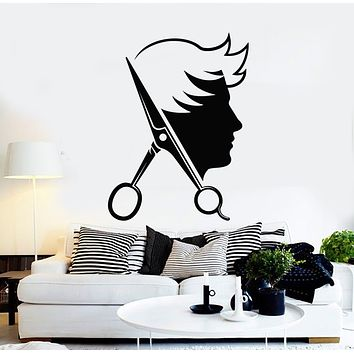 Vinyl Wall Decal Scissors Man's Hair Cutting Tools Barber Shop Stickers Mural (g347)