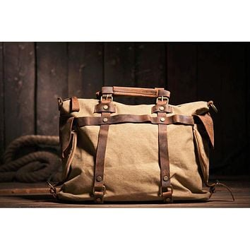 Vintage Military Canvas Leather Men Shoulder Bag Crossbody Bag Men Bag Tote Handbag Canvas Messengera Bag Men Leisure male M311