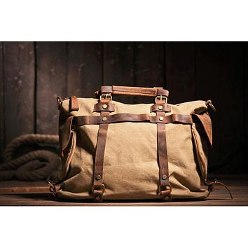 Men's Vintage Military Canvas Leather Shoulder Bag