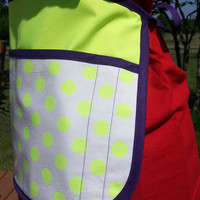 Neon Yellow Waitress Teacher or Vendor Half Apron with Left Hand Pen Pencil Slots
