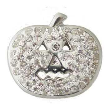 Chunk Snap Charm Halloween Pumpkin Clear Crystals