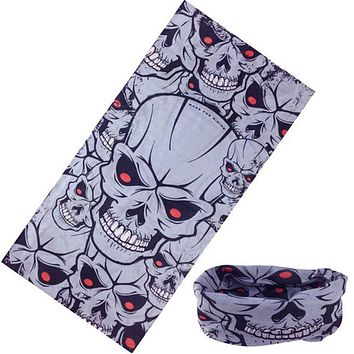 Skull Bandana Stretchable Tubular Bandana For Ski 25*48cm Face Mask Cap Neck Tube Multifunctional Scarf Men Magic skull headwear