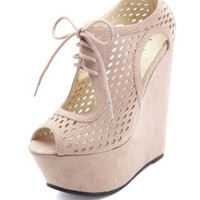 Laser-Cut Peep Toe Lace-Up Platform Wedges by Charlotte Russe - Taupe