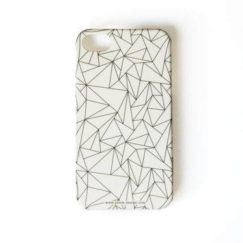 Christmas SALE: White Geometric Phone Case. Whimsy black and white Gadget Accessory. Geekery Unisex gift for men and women