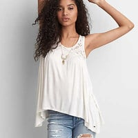 AEO Embroidered Swing Tank, Iced Mocha