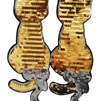 XXL Extra Large Stunning Gold Sequin Twin Kitty Cat Patch 23cm Applique