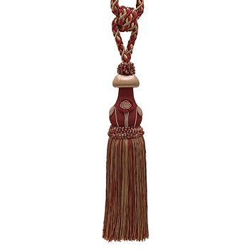 Decorative Burgundy Taupe Curtain & Drapery Tassel Tieback /12 inch tassel, 32 inch Spread (embrace), 7/16 inch Cord, Baroque Collection Style# TBBL-1 Color: CRANBERRY HARVEST 8612