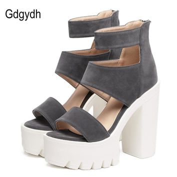 GDGYDH - Fashion Summer Casual Cut-outs Open Toe Thick Heel Sandals*