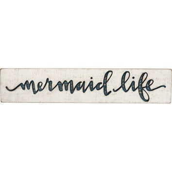 Mermaid Life | Vintage Carved Sign Blue Letters - 26-in