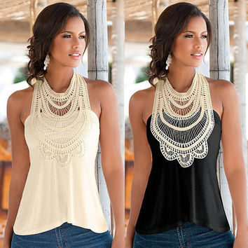 Backless Women's Fashion Sleeveless Summer Lace Tee T-shirts = 4807036676