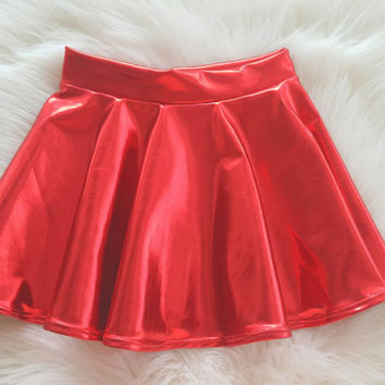 Christmas, Circle skirt, Faux Leather Skirt, Baby & Toddler circle skirt, Girl skirt, Christmas in July