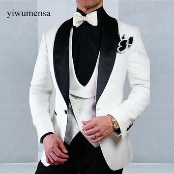 Luxury Shawl Lapel men suit set Custom made White slim fit Three Pieces Wedding Suits Men Prom Tuxedo Red/Black/Blue Suits 2018