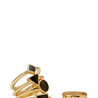 FOREVER 21 Lacquered Geo Ring Set Gold/Black