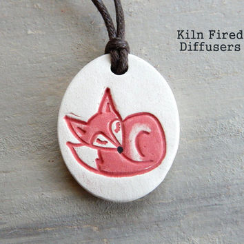 Sleeping Red Fox Oil Diffuser Pendant NECKLACE, Kids Healing Jewelry for Essential Oils Natural Organic White Clay Eco Friendly Adjustable
