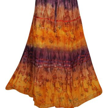 Groovy Tiered Tie Dye Long Skirt Cotton A-Line Flare Gypsy Boho Chic Womens Skirts