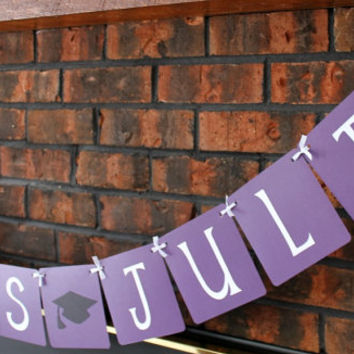 Custom Graduation Banner - Purple / Congrats Grad / Custom Name / Graduation 2014 / High School / College / Party Decor / Garland / Sign