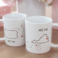 Miss You - Customizable Matching Coffee Mug Sets for Couples and Friends (MC030)