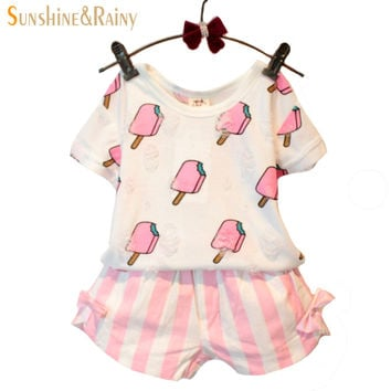 Sweet Summer Baby Girls Clothing Set Popsicle Style Kids Girl Clothes Cute Ice Cream Hole T-shirt and Bow Short Suit 2`