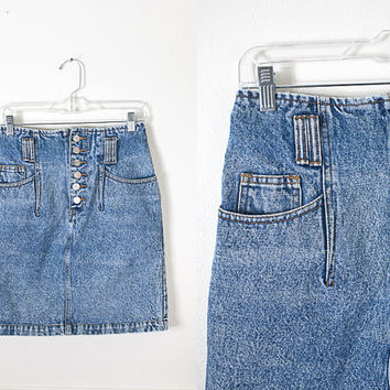 Acid Wash Denim Mini Skirt / Vintage 80s Skirt / 80s Denim Pencil Skirt / Ultra High Waisted Denim Skirt / 90s Denim / Acid Washed Jeans