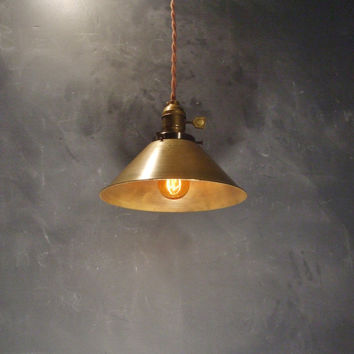 Vintage Industrial Pendant Lamp with Antique Brass Cone Shade