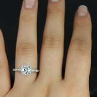 Christie 6mm 14kt White Gold Round FB Moissanite and Diamonds Cushion Halo WITH Milgrain Engagement Ring (Other metals and stone available)