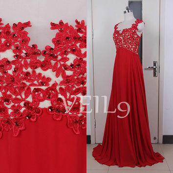 2015 New Red Lace wedding dresses Cap Sleeve Bridal Lace gowns Beach wedding dress Beading Sequins Bridal gown Backless Bridal Wedding gown
