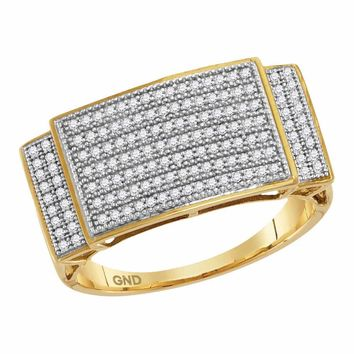 10kt Yellow Gold Mens Round Pave-set Diamond Rectangle Cluster Ring 1/2 Cttw