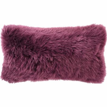 "Boysenberry Longwool Combed Pillow - 11""x22"""