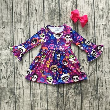 new milk silk Carton COCO dress girls children clothes baby Fall/Winter long sleeve dress boutique kids wear match clip bow
