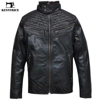 KENNTRICE Biker Men Jacket Punk Motorcycle Bomber Real Leather Motorcycle Jacket Men Winter Genuine Leather Jacket Suede Coats