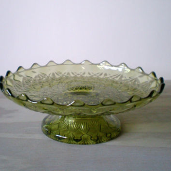 Cake Stand Green Depression Glass by HoundDogDigs on Etsy