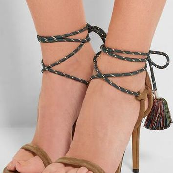 Suede Leather Strap Toe Sandals Rope Straps Lace Up High Heels Shoes
