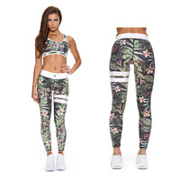 Womens Ladies Fitness Leggings Sets Clothes Floral Crop Tops