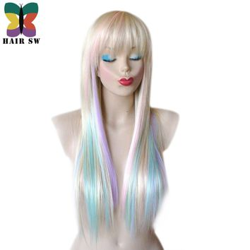 HAIR SW Long Straight Synthetic Hair Fairy princess wig colorful highlights Blonde rainbow wig Pastel Heat resistant with bangs