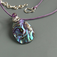 Paua shell pendant, purple amethyst necklace silver plated stone handmade jewelry