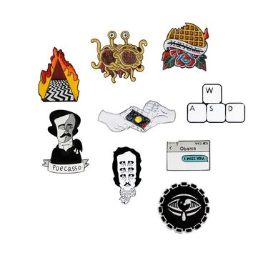 Brooch and Pin Waffles Flying Spaghetti Monster Edgar Allan Poe Keyboard Shooting gesture Text message Enamel Pins Badges