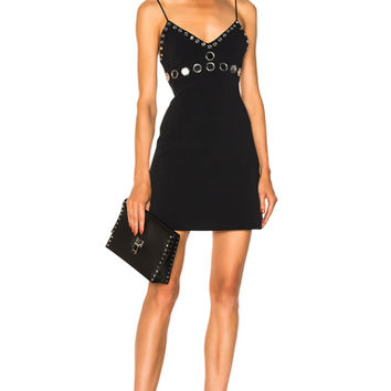 David Koma Circle Embellished Mini Dress in Black & Silver | FWRD